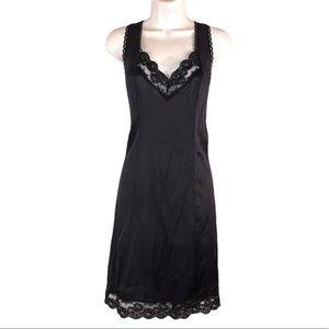 Black Lace Trim Nylon Slip, Size 38